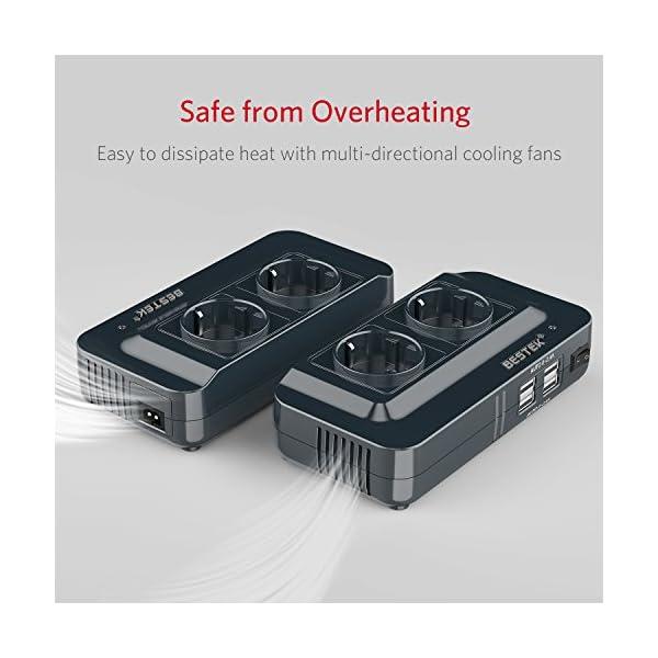 51R9DWszGHL BESTEK 200W KFZ Spannungswandler 12V auf 230V Wechselrichter mit 2 Steckdosen und 4 USB Autoladegerät inkl…