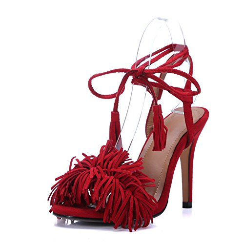 Style Ankle Baguette Sandals Urethane Red Fringed 1TO9 MJS03089 Wrap Womens wqIW7ExAUT