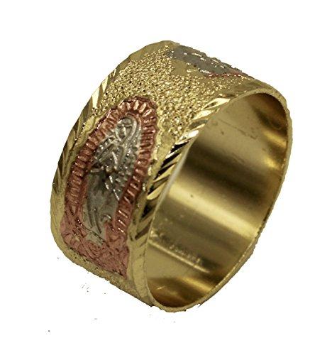 Diamantados of Fla Virgen de Guadalupe Morenita Tres Tonos Oro 18K Chapado en Oro Anillo tamaño 9
