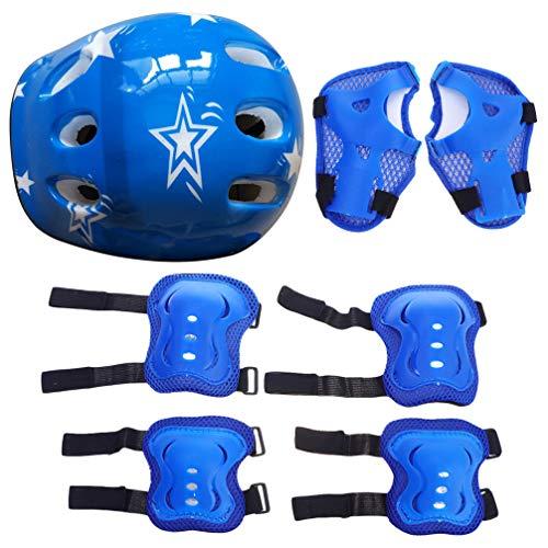 Kisangel 7 Stks Blauwe Kids Beschermende Uitrusting Set Elleboogbeschermers Polsbeschermers Beschermers Kniebeschermers…