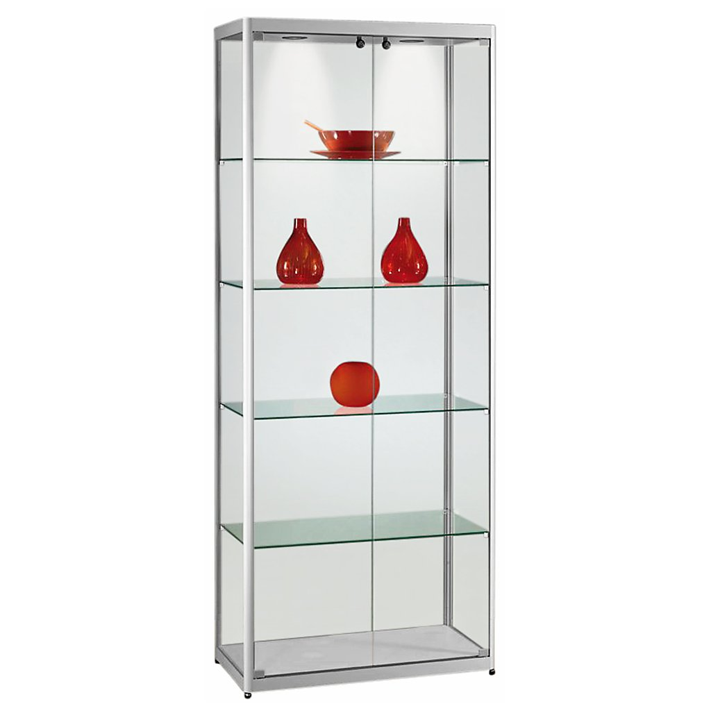 vitrine glasvitrine standvitrine sammlervitrine basic 800 alu glas beleuchtet abschlie bar 2x. Black Bedroom Furniture Sets. Home Design Ideas