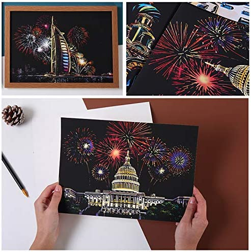 8.2x11.4 4 Packs with Stylus//Black Brush DIY Scratch Art Young Lady Scratchboard for Adult and Kids Scratch Paper Painting