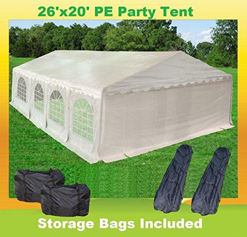 26'x20' PE Party Tent White - Heavy Duty Wedding Gazebo Canopy Carport - with Storage Bags - By DELTA - 2620 20