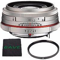 Pentax HD Pentax DA 21mm f/3.2 AL Limited Lens (Silver) + UV Filter + MicroFiber Cloth 6AVE Bundle