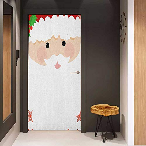 Onefzc Wood Door Sticker Kids Christmas Cartoon Face of Santa with Pink Cheeks White Beard and Mistletoe on His Hat Easy-to-Clean, Durable W32 x H80 Multicolor
