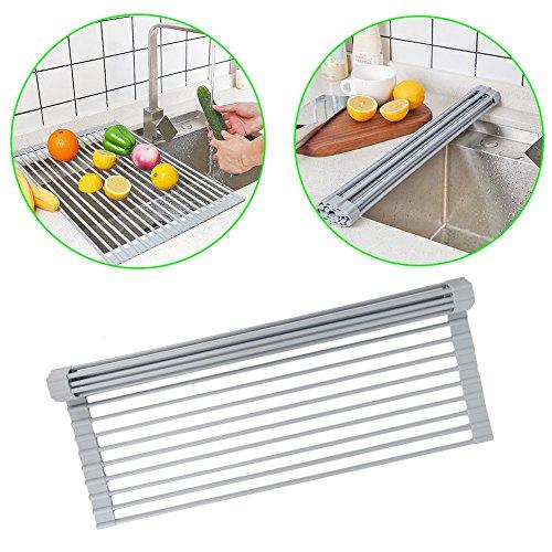 Sunta Dish Drying Rack Roll-Up Dish Drainer Rack Bonus Dish