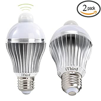 Sensor Light Bulbs Outdoor: iThird E26 7W LED Motion Sensor Light Bulbs PIR Infrared Motion Detection  Light Daylight Indoor/Outdoor Lighting Lamp for Porch Hallway Attic Garage  2 Pack,Lighting