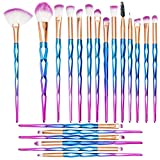 Professional Makeup Brushes Set 20 Pieces Cosmetic Make-up Brush Beauty Toiletry Kits Natural Soft Powder Foundation Eye Shadow Concealer Lip Cream Brush Tools for Wedding Birthday Party (Blue)