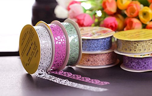 MassMall Cute Lace Flower Clear DIY Decorative Sticky Paper Masking Adhesive Tape (Pink/Yellow/Blue)