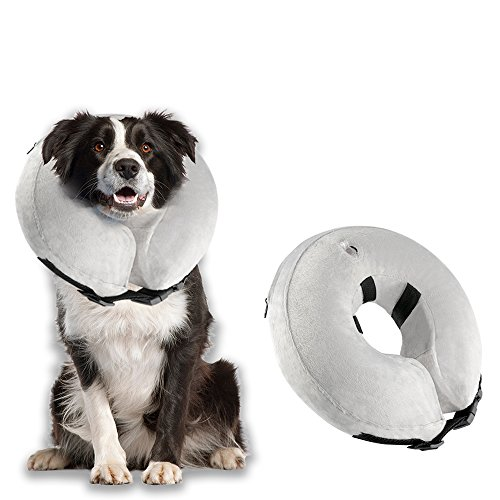 Airsspu Protective Inflatable Dog Collar - Soft Pet Recovery E-Collar Cone for Small Medium Large Dogs - Designed to Prevent Pets From Touching Stitches (Medium - Neck Circumference 8-12)