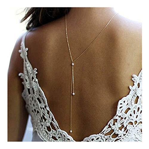 (LittleB Back Necklace Backdrop Pearls Body Chain for women.)