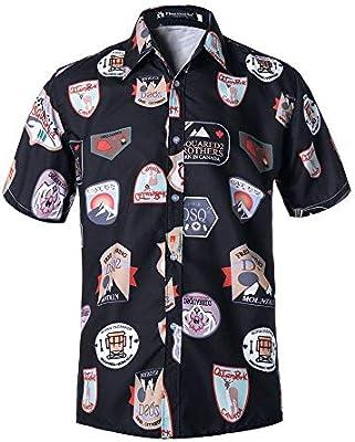 Yinglihua Camisas de los Hombres Camisa Casual Abotonada de la Moda de los Hombres Camisa de Manga Corta de Verano Hawaii Playera Fiesta de Playa (Color : B1, tamaño : XL): Amazon.es: