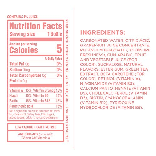 Sparkling Ice, Pink Grapefruit Sparkling Water, with Antioxidants and Vitamins, Zero Sugar, 17 fl oz. Bottles (Pack of 12)