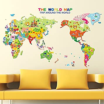 Amazon wda colorful the world map wall decals with various wda colorful the world map wall decals with various cartoon animals wall stickers trees countries pvc gumiabroncs Gallery