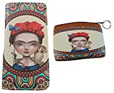 Frida Women's Wallet With Matching Coin Purse (Flower Crown with Beige Background)