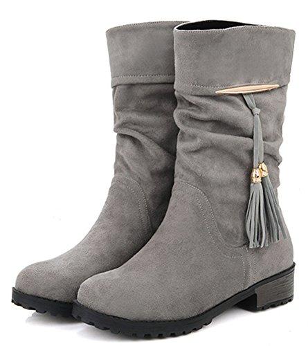 IDIFU Womens Casual Tassels Low Heels Chunky Round Toe Slouchy Mid Calf Boots Gray CVxfQO