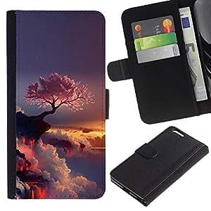 Protector de cuero de la PU de la cubierta del estilo de la carpeta del tirón BY RAYDREAMMM - Apple Iphone 6 PLUS 5.5 - Púrpura Árbol japonés