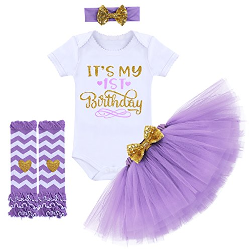 It's My 1/2 / 1st / 2nd Birthday Outfit Baby Girls Romper + Ruffle Tulle Skirt + Sequins Bow Headband + Leg Warmers Socks Party Dress up Costume 4Pcs Photo Cake Smash Clothe Set Purple 1 Year]()