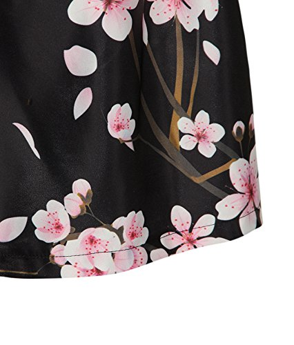 ZIOOER Skirt Black Print Flared Elastic Blossom Women's Pleated Casual Waistband Digital Plum Rrw8p1qR