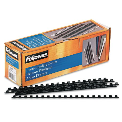 Fellowes Plastic Comb Binding Spines, 1/4 Inch Diameter, Black, 20 Sheets, 100 Pack (52366)