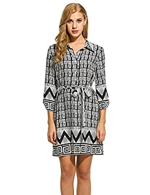 Hotouch Womens 3/4 Sleeve Printed Shirt Dress Boho Casual Waist Tie Polo Dress