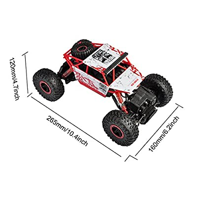 hapinic RC Car with Two Battery 4WD 2.4Ghz 1/18 Crawlers Off Road Vehicle Toy Remote Control Car Red Color: Toys & Games
