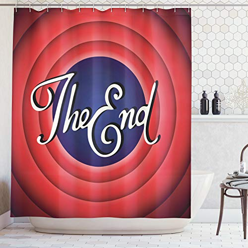 Ambesonne 1950s Decor Collection, Movie Ending Screen Academy Dated Broadcast Entertainment Show Oscar Cinema Frame Image, Polyester Fabric Bathroom Shower Curtain Set with Hooks, Red Navy White -