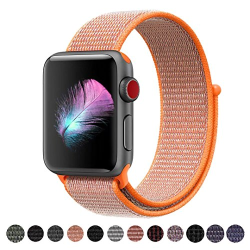 Hook Orange (Yunsea Compatible for Apple Watch Band 38mm, New Nylon Sport Loop, with Hook and Loop Fastener, Adjustable Closure Wrist Strap, Replacement Band Compatible for iwatch, 38mm, Spicy Orange)