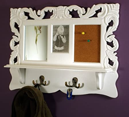 Shabby Chic Antique White Wooden Wall Shelf with Coat Hooks/ Photo ...