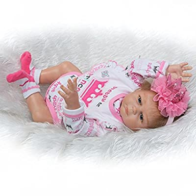 Pinky Pair of 50cm 20inch Vinyl Silicone Full Body Doll Newborn Lifelike Reborn Baby Dolls Toddlers Twins Toys Magnetic Mouth Dummy: Toys & Games
