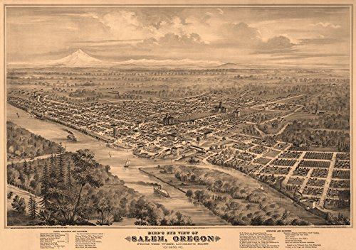 Old Map of Salem Oregon 1876 Marion County (18x24 Paper Poster)