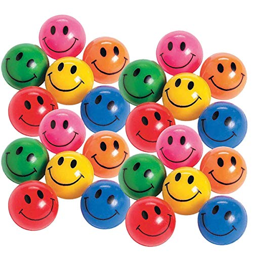 Kicko Rubber Smile Face Bouncing Balls - Pack of 24-1 Inch Assorted Colors - Mini Smiley Hi-Bounce Balls - for Kids Boys and Girls Party Favors, Bag Stuffers, Fun, Toy, Prize ()