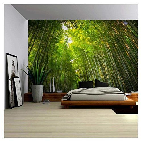 Tall Forest of Bamboo Tree's Hovering Over Wall Mural