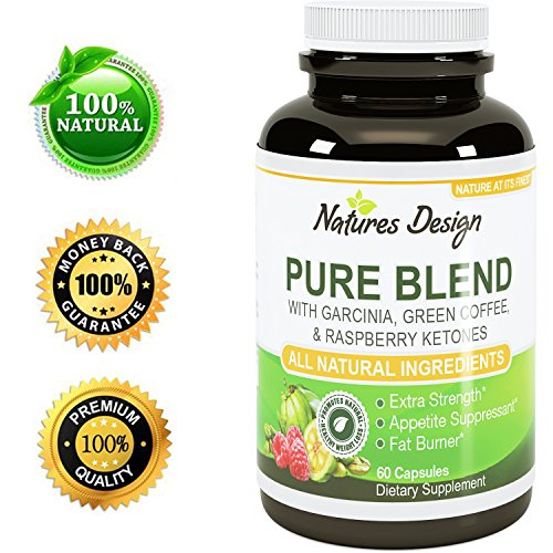 Pure Garcinia Cambogia Extract + Green Tea Raspberry Ketones + Green Coffee Bean Extract - Extra Strength Potent And Pure Blend Formula For Weight Loss In Men And Women By Natures Design
