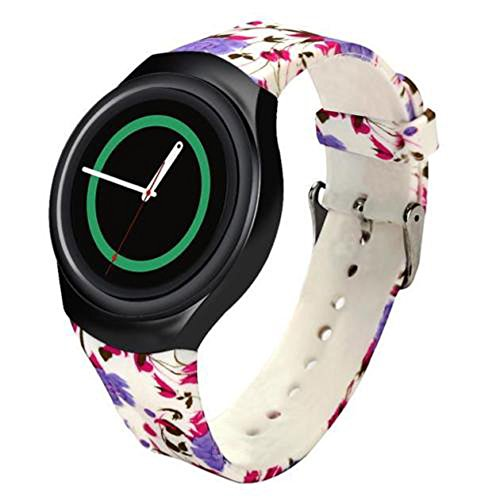 for Samsung Gear S2 Watch Band - Soft Silicone Sport Replacement Band for Samsung Gear S2 Smart Watch SM-R720 SM-R730 Version Flower