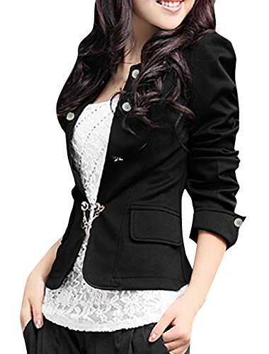 Allegra K Women Puff Sleeve Buttons Decor Pleated Hem Back Mock Pockets ()
