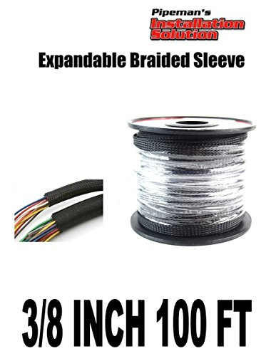 BLACK 3/8 100FT BRAIDED EXPANDABLE FLEX SLEEVE WIRING HARNESS LOOM WIRE COVER - Wiring Harness Loom