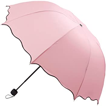 Cinhent Umbrella, Girls Fashion Simple Cute Solid Color Flouncing Folding Lotus Leaves Princess Dome Parasol Sun/Rain Umbrella, 89 CM / 35