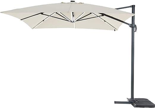 Parasol de Jardin LED ALU Sun 3 Luxe - Cuadrado - 3 x 3 m - Crudo: Amazon.es: Jardín