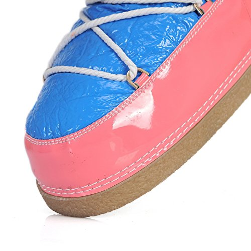 Color Assorted Material Fabric with Boots Bluepink M Round AmoonyFashionWomens Low B 5 US 5 Bandage Heels Closed Toe Soft xwfq8zg1q
