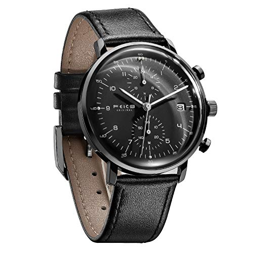- FEICE Men's Watches Ultra Thin Analog Quartz Watch Stainless Steel Luminous Dual Time Casual Watches for Men with Leather Bands Calendar -FS021 (Black)
