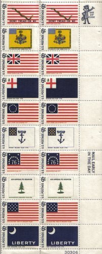- HISTORIC FLAG SERIES ~ FORT MOULTRIE ~ FORT MCHENRY ~ WASHINGTON'S CRUISERS ~ BENNINGTON ~ RHODE ISLAND ~ FIRST STARS & STRIPES ~ BUNKER HILL ~ GRAND UNION ~ PHILADELPHIA LIGHT HORSE ~ FIRST NAVY JACK #1354a Plate Block of 20 x 6¢ US Postage Stamps