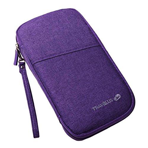 Fabric Credit Card Holder (ABage Slim Credit Card Holder Zipper Document Organizer Travel Passport Case Wallets, Purple)