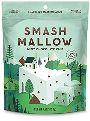 Smash Mallow Snackable Marshmallows Mint Chocolate Chip 4.5 oz (Pack of 4)