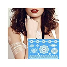 Waterproof Temporary Lace Tattoo Metallic Gold Silver White For India Henna Tattoo Flower Pattern