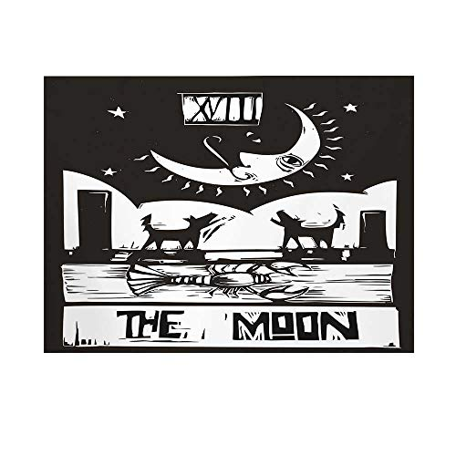 Moon Photography Background,Black and White Drawing Style Lobster Wolves Crescent Moon Stars Tarot Card Design Decorative Backdrop for Studio,15x10ft ()