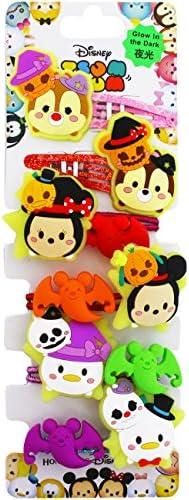 【ディズニー】 Disney ツムツム ヘアピン ヘアゴム 6個セット ハロウィン 蛍光 非売品おまけ付き 香港 HKDL 海外ディズニー限定