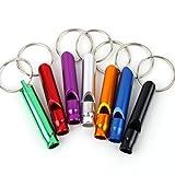 LQZ(TM) 10Pcs Assorted Color Aluminum Loud Safety Survival Whistle Keyring Keychain