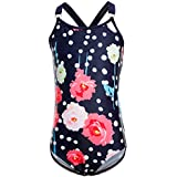 BELLOO Girls Straps Crisscross One Piece Swimsuits, Printing Flowers, Size S-XL