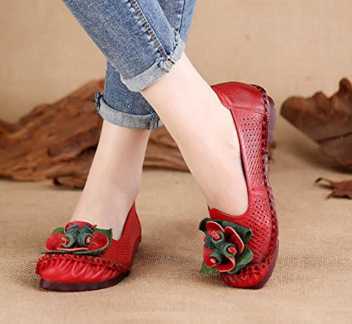 Leisure Flat Red Summer Sandals New Women Mother Koyi Comfortable Flowers Shoes Fashion Uw8nnqHxO